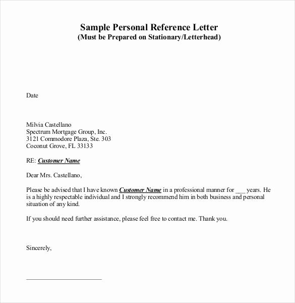 Letter Of Personal Reference Awesome 42 Reference Letter Templates Pdf Doc