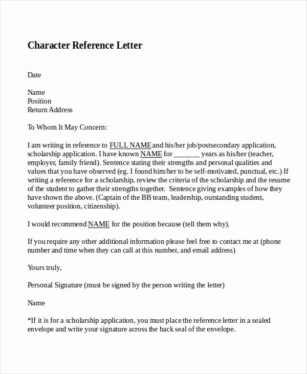 Letter Of Personal Reference Fresh 10 Best Personal Character Reference Letter How to