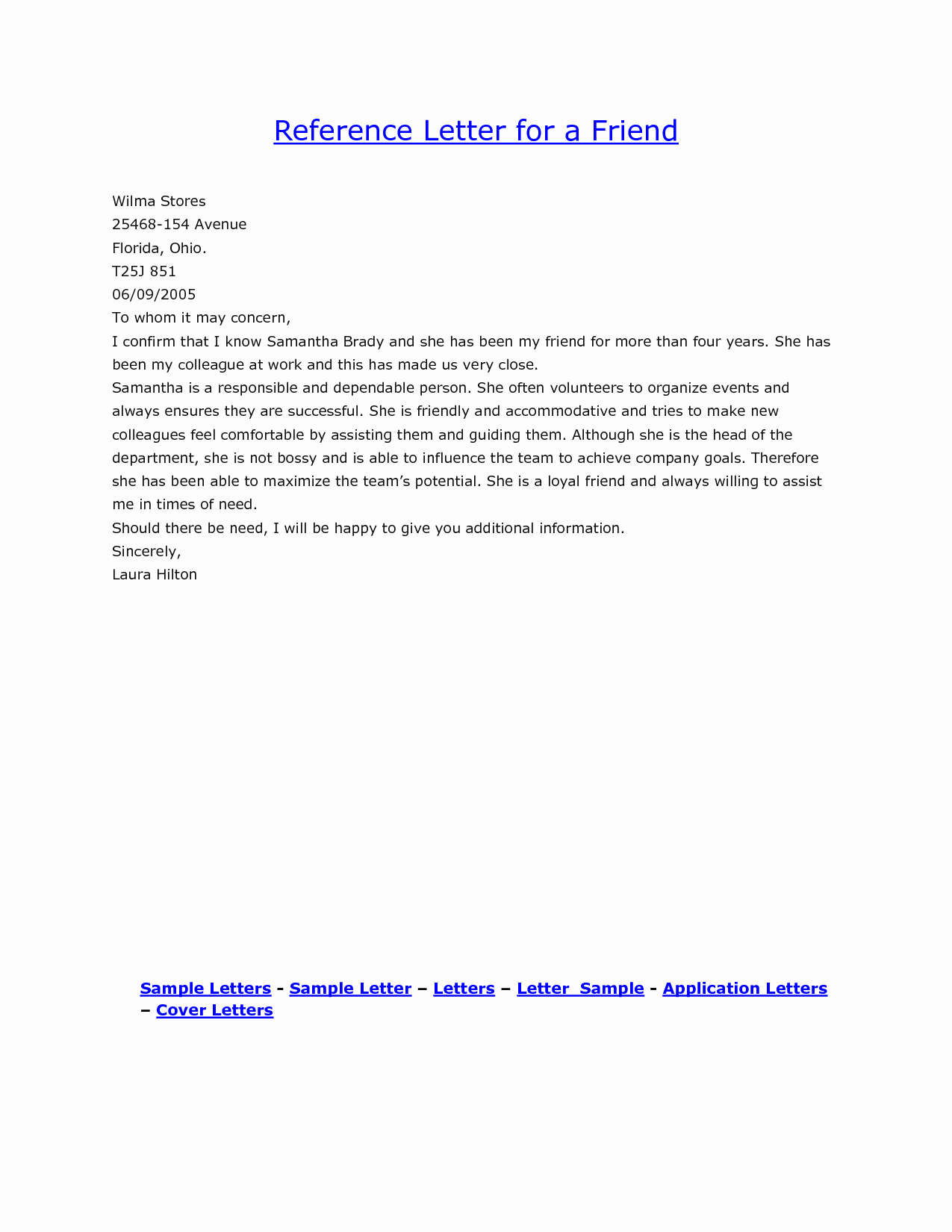Letter Of Personal Reference Inspirational Personal Reference Letter for A Friend