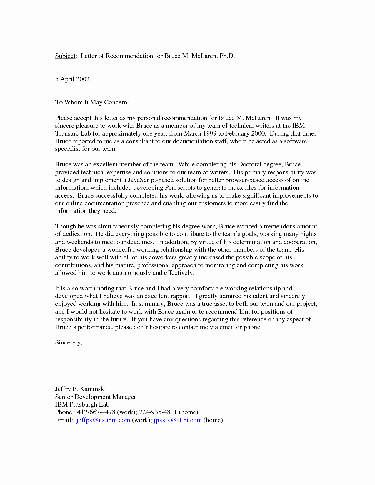 Letter Of Personal Reference New Personal Reference Letter Re Mendationletter