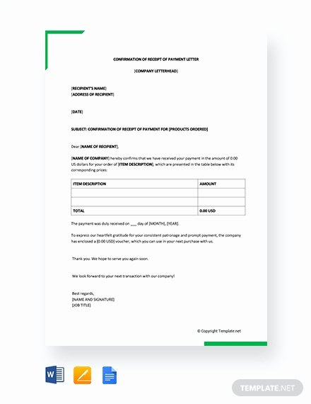 Letter Of Receipt Of Payment New Free Rent Payment Acknowledgment Letter Template Download
