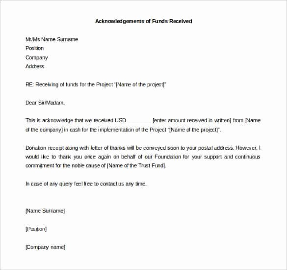 Letter Of Receipt Of Payment Unique 38 Acknowledgement Letter Templates Pdf Doc