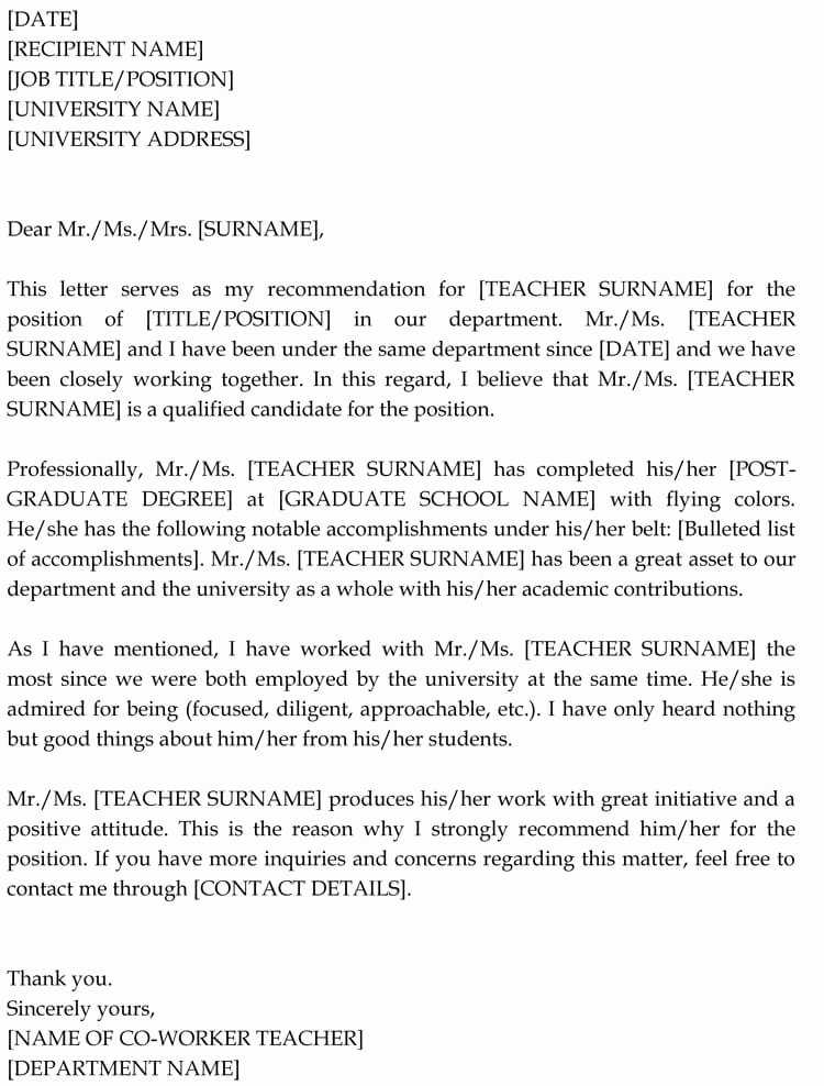 Letter Of Recommendation for Colleague Awesome Letter Of Re Mendation for Co Worker 18 Sample Letters