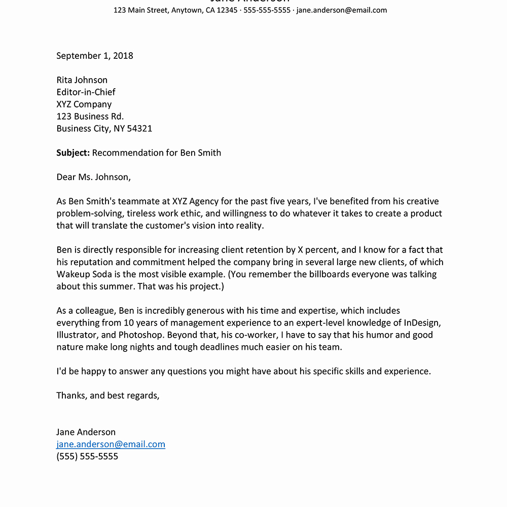 Letter Of Recommendation for Colleague Luxury How to Write A Letter Of Re Mendation for A Co Worker