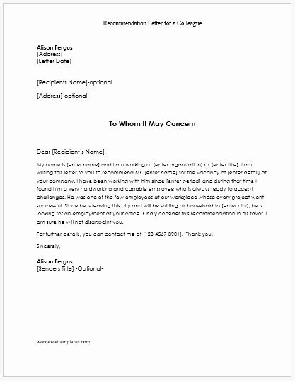 Letter Of Recommendation for Colleague Unique Re Mendation Letters for Employees Teachers