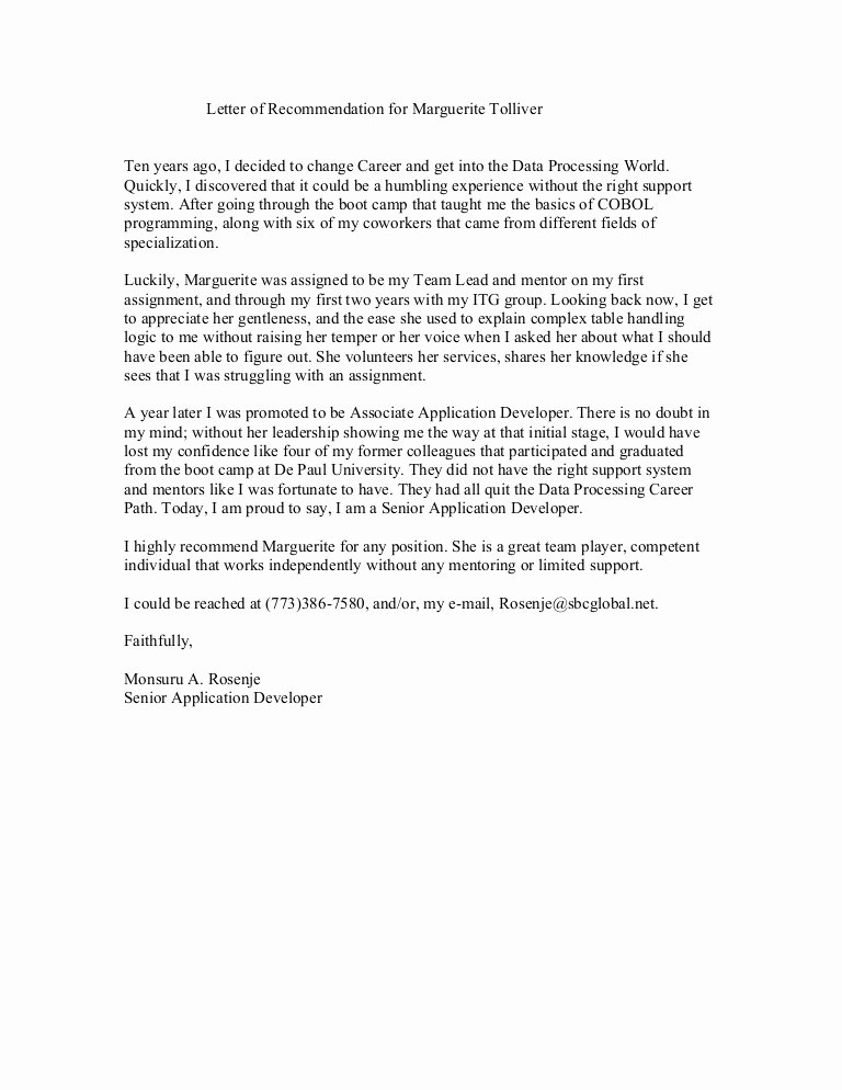 Letter Of Recommendation for Colleague Unique Reference Letter From Co Worker