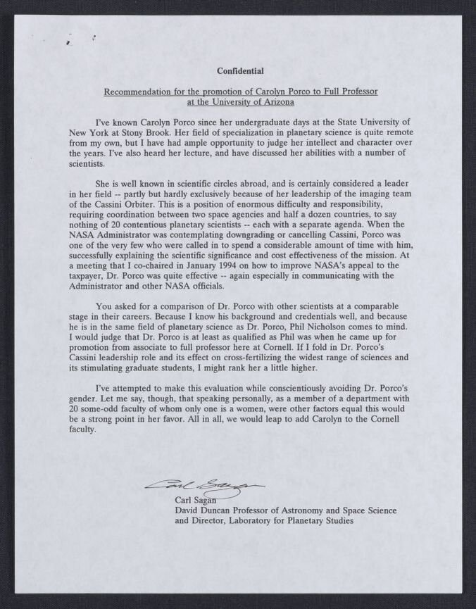 Letter Of Recommendation for Promotion Luxury Re Mendation for the Promotion Of Carolyn Porco to Full