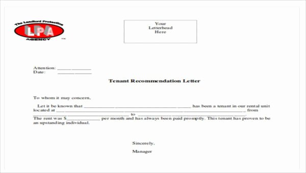 Letter Of Recommendation for Tenant Best Of 5 Sample Tenant Re Mendation Letters