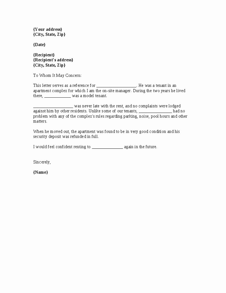 Letter Of Recommendation for Tenant Unique A Template for A Renter Reference Letter From A Previous