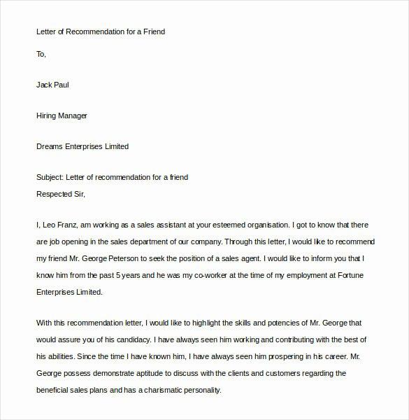 Letter Of Recommendation From Friend Elegant 23 Friend Re Mendation Letters Pdf Doc