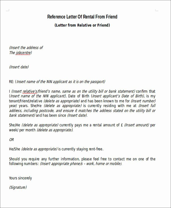 Letter Of Recommendation From Friend Elegant Sample Rental Reference Letter 8 Examples In Pdf Word