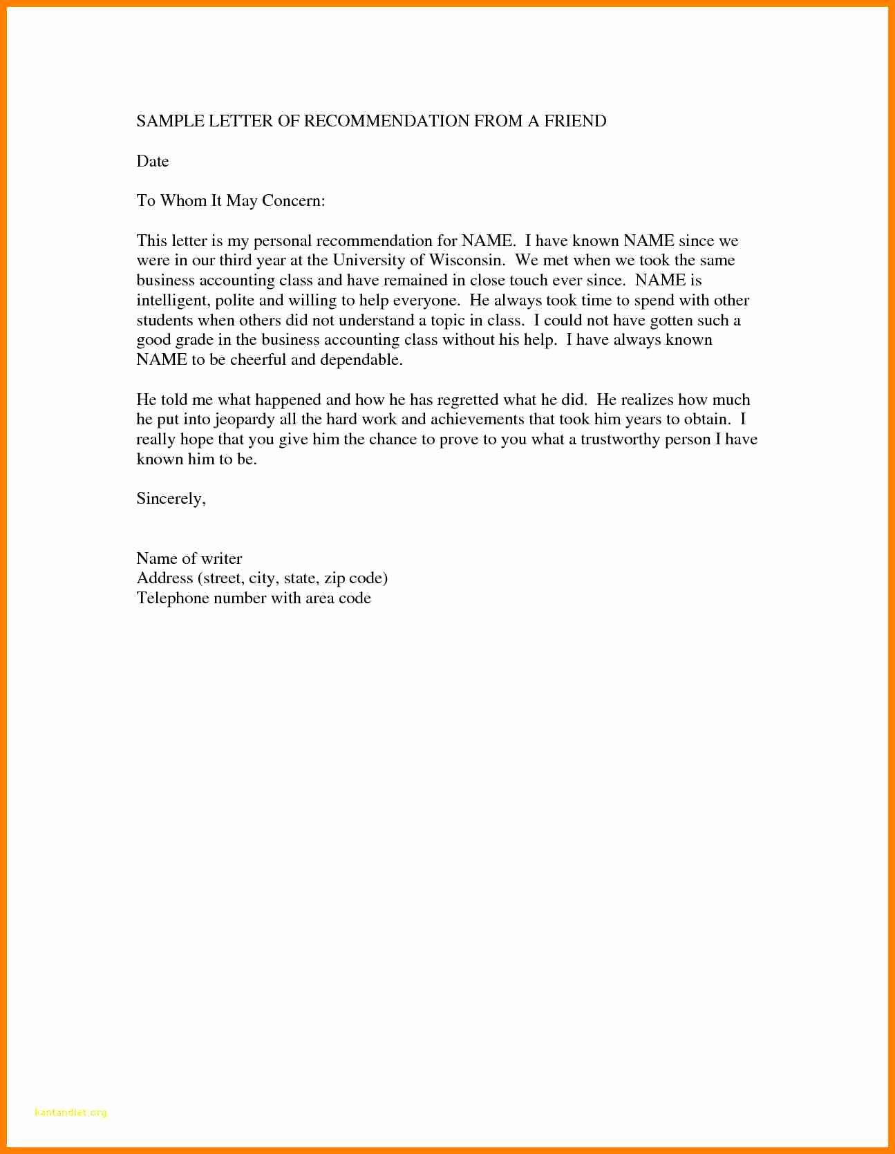 Letter Of Recommendation From Friend Fresh 7 Re Mendation Letter for Immigration for A Friend