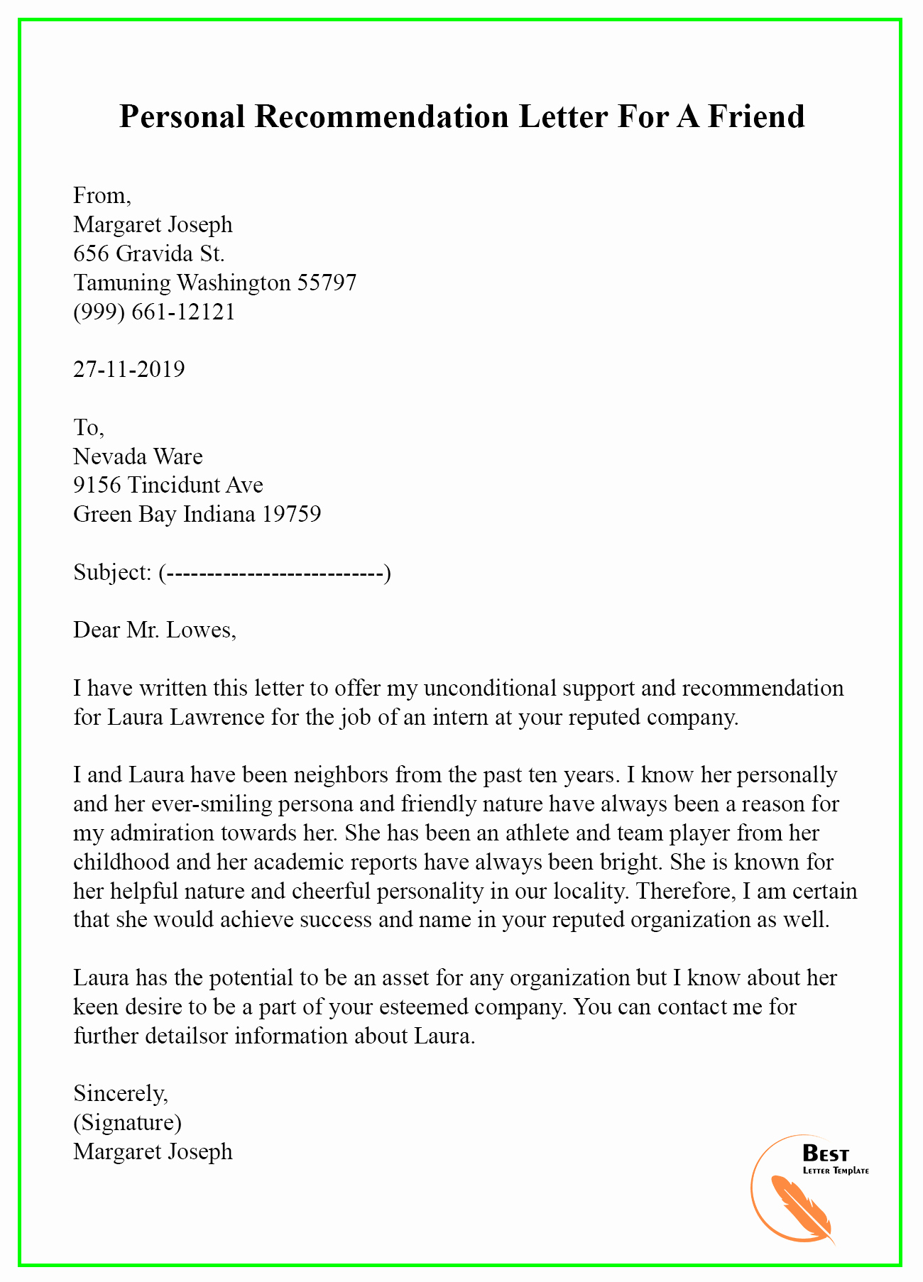 Letter Of Recommendation From Friend Fresh Re Mendation Letter for A Friend – format Sample & Example