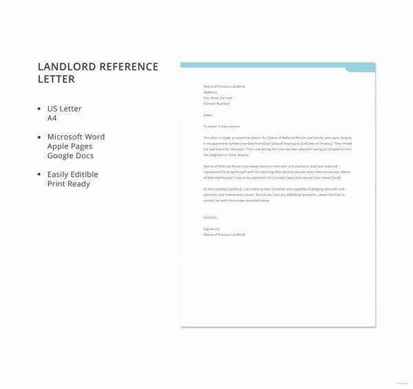 Letter Of Reference From Landlord Fresh 42 Reference Letter Templates Pdf Doc