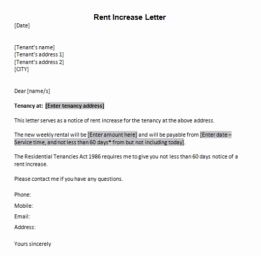 Letter Of Rent Increase Awesome Letter Templates