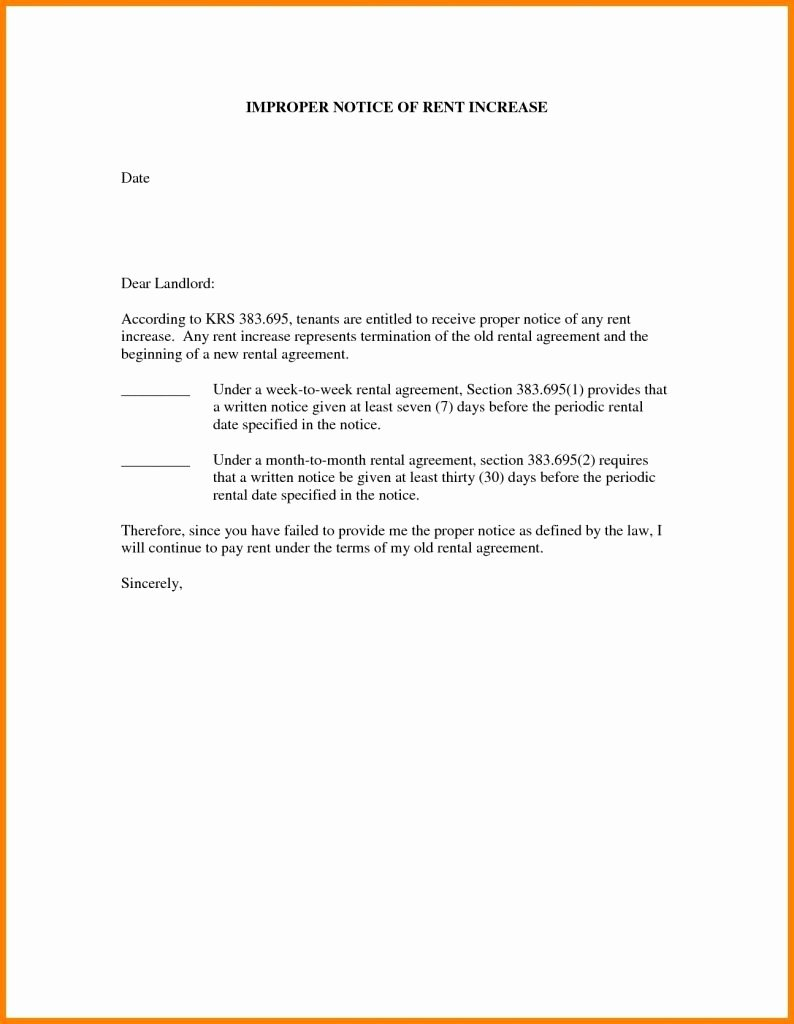 Letter Of Rent Increase Unique Rent Increase Letter Template Samples