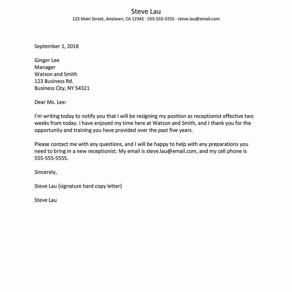 Letter Of Resignation Email Template Lovely What to Include In A Resignation Letter to Quit A Job