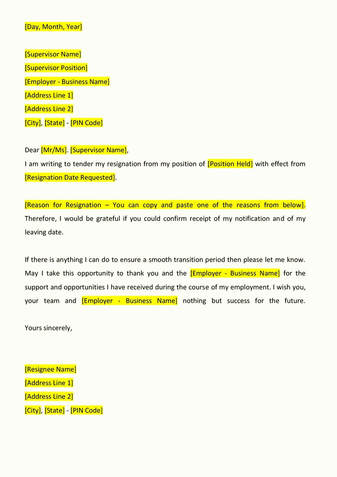 Letter Of Resignation Email Template New Resignation Letter format Indiafilings Document Center