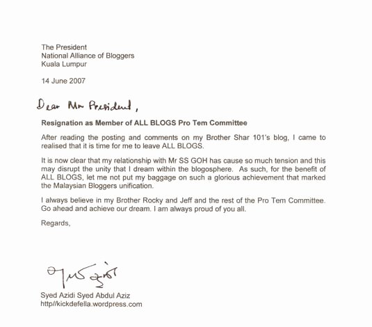 Letter Of Resignation From Committee Awesome Resignation as Member Of All Blogs Pro Tem Mittee