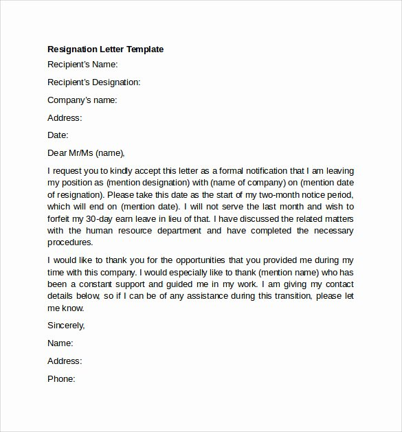 Letter Of Resignation From Committee Fresh Sample Resignation Letter Example 10 Free Documents