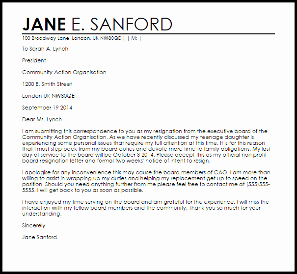 Letter Of Resignation From Committee Inspirational Non Profit Board Resignation Letter Example