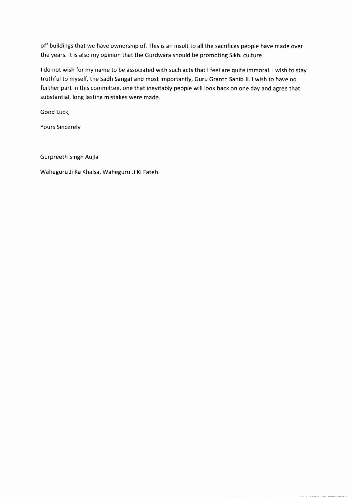 Letter Of Resignation From Committee Lovely Satkaar Campaign Gnss Dudley Gurdwara Mittee
