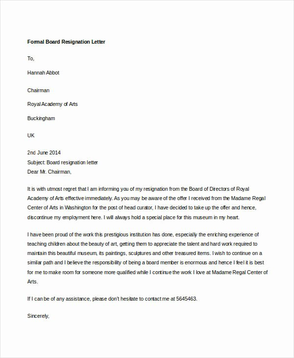 Letter Of Resignation From Committee New 14 formal Resignation Letters Free Sample Example