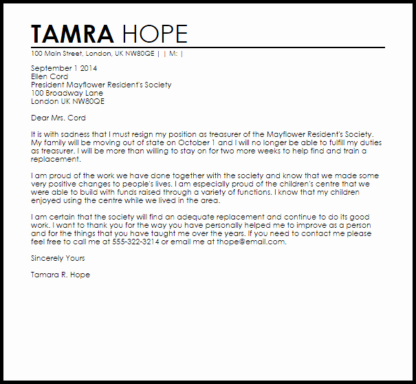 Letter Of Resignation From Committee New Club Resignation Letter Resignation Letters