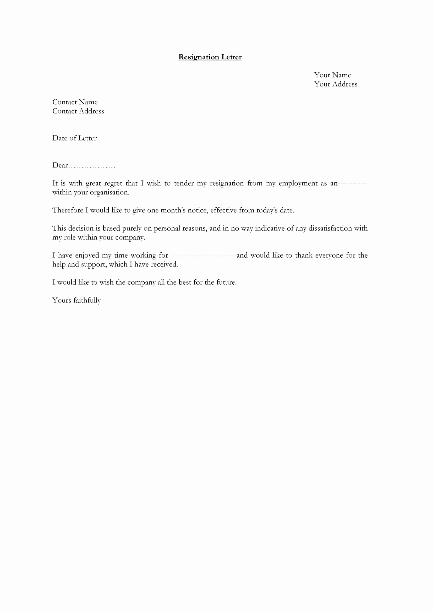 Letter Of Resignation From Job Inspirational 12 Employee Resignation Letter Examples Pdf Word