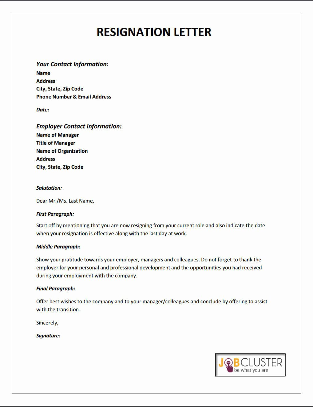 Letter Of Resignation From Job Inspirational Writing A Resignation Letter