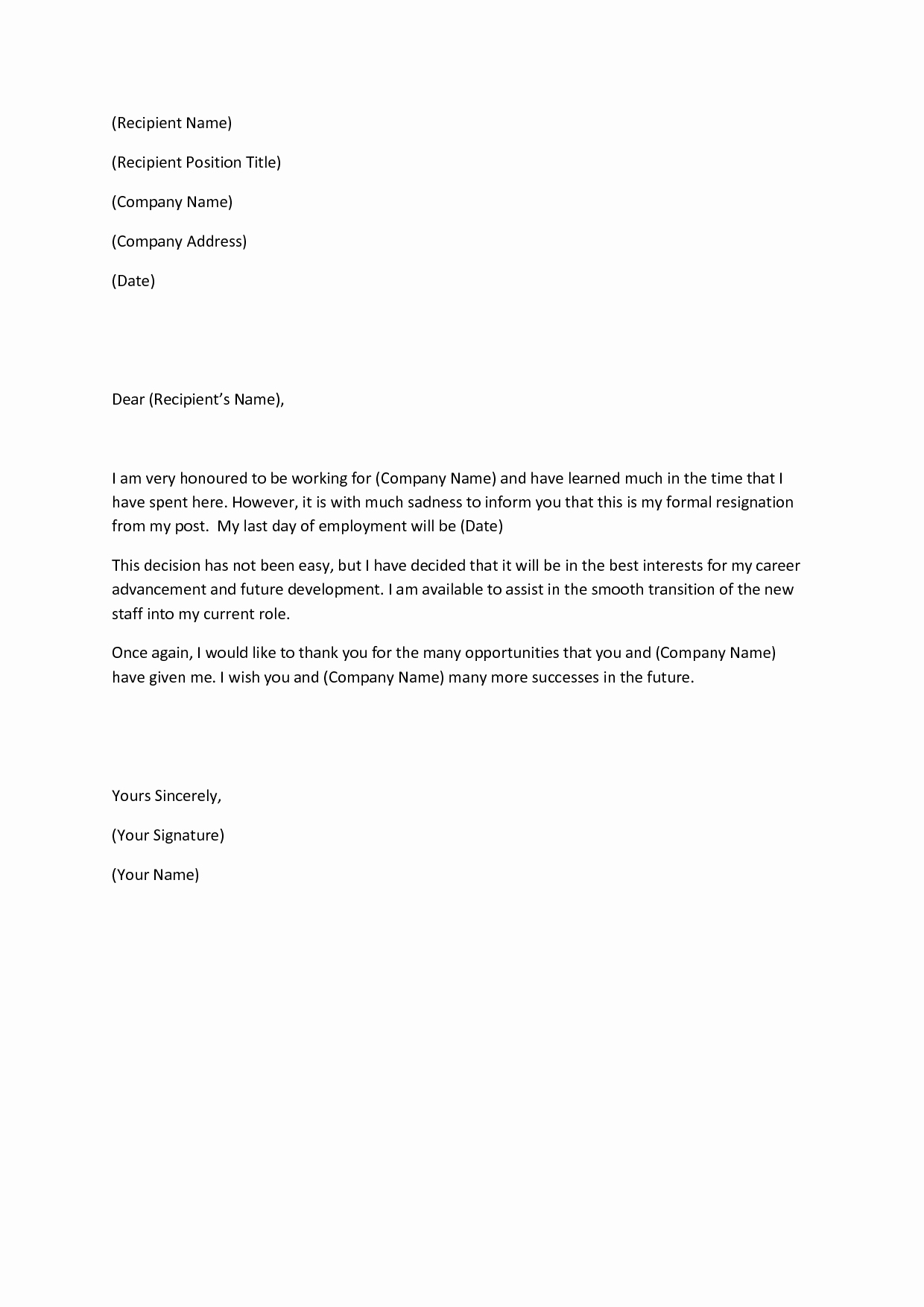 Letter Of Resignation Outline Awesome Writing A Heartfelt Resignation Letters In Pdf