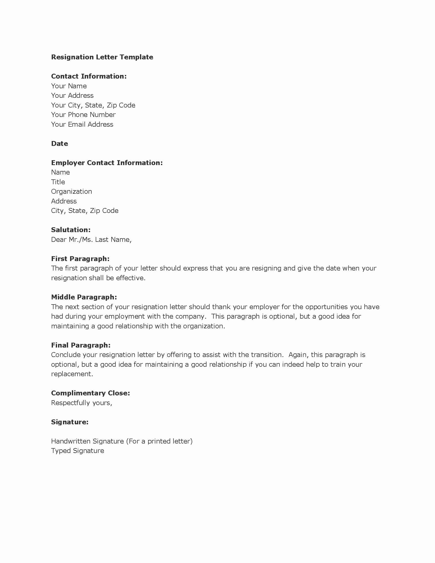 Letter Of Resignation Outline Inspirational Resignation Letters Download Pdf Doc format