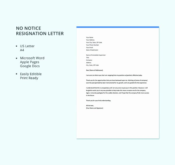 Letter Of Resignation Template Microsoft Beautiful 69 Resignation Letter Template Word Pdf Ipages