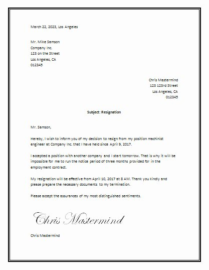 Letter Of Resignation Template Microsoft Elegant Resignation Letter Sample – Resignation Letter