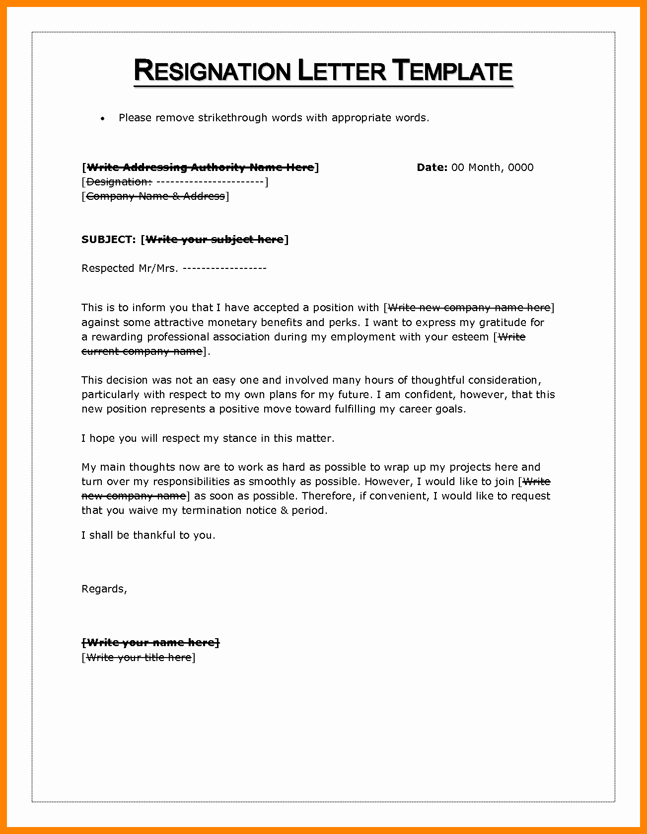 Letter Of Resignation Template Microsoft Inspirational 10 Letter Of Resignation Word Template