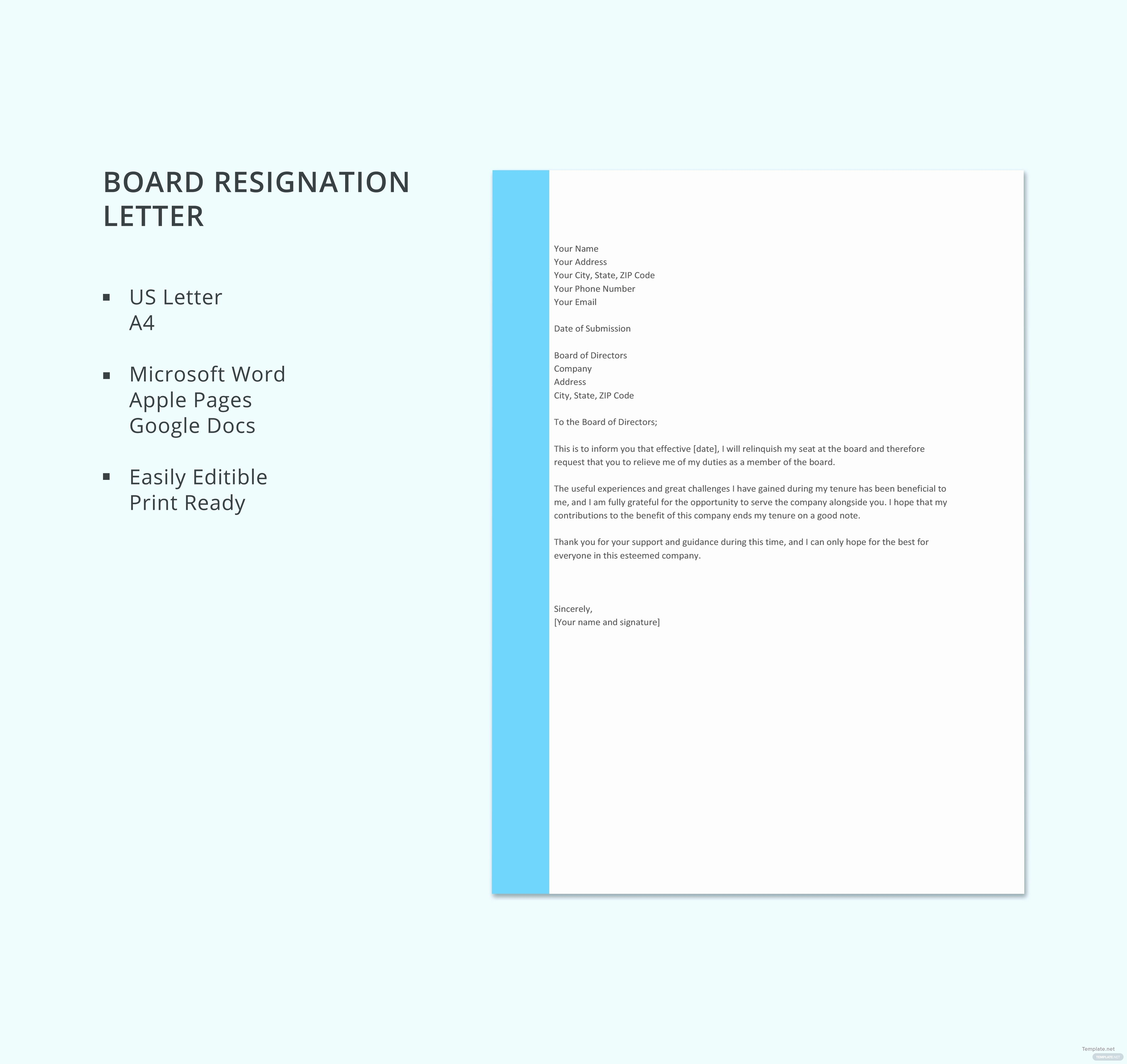 Letter Of Resignation Template Microsoft Luxury Free Board Resignation Letter Template In Microsoft Word