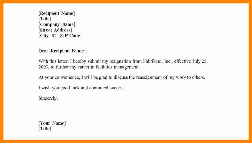 Letter Of Resignation Template Microsoft New 11 Letter Of Resignation Template Microsoft