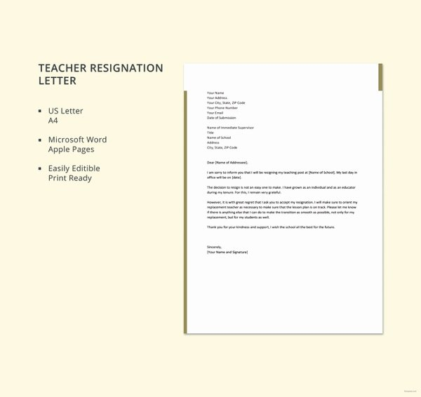 Letter Of Resignation Template Microsoft Unique 12 formal Resignation Letter Template Free Word Excel