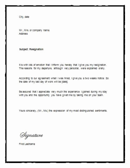Letter Of Resignation Template Microsoft Unique 5 Free Two Weeks Notice Letter Templates Word Excel