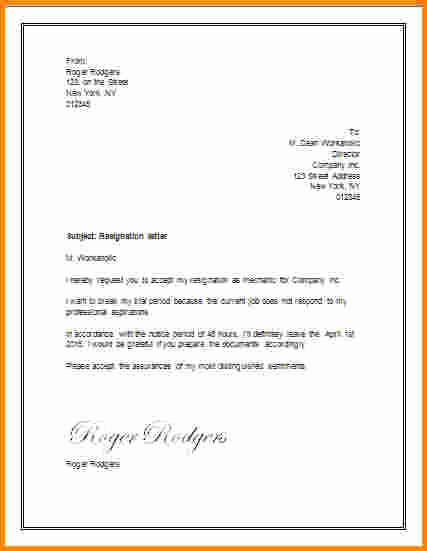 Letter Of Resignation Template Microsoft Unique 5 Resignation Letter Template Word