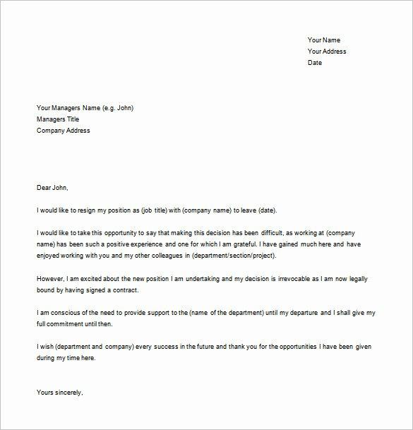 Letter Of Resignation Template Microsoft Unique Simple Resignation Letter Template – 15 Free Word Excel