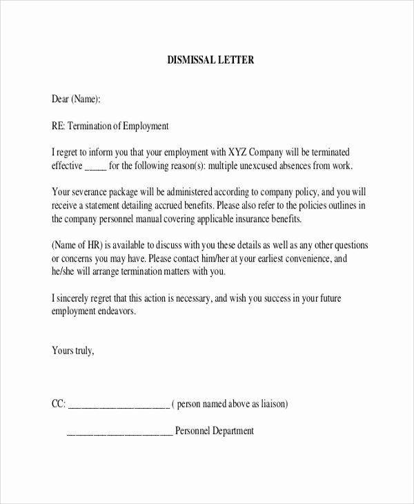 Letter Of Termination to Employee Beautiful 9 Sample Employee Termination Letters Word Pdf Pages