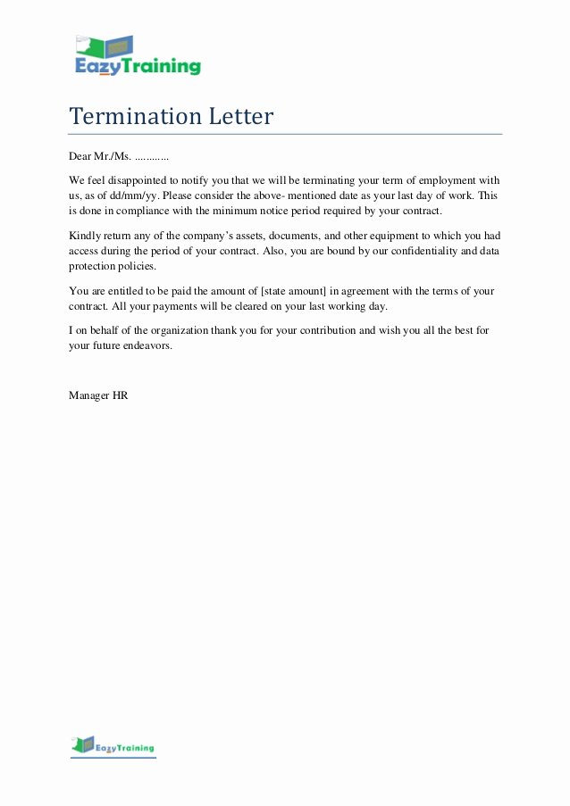 Letter Of Termination to Employee Inspirational Termination Letter Template format for Employee On