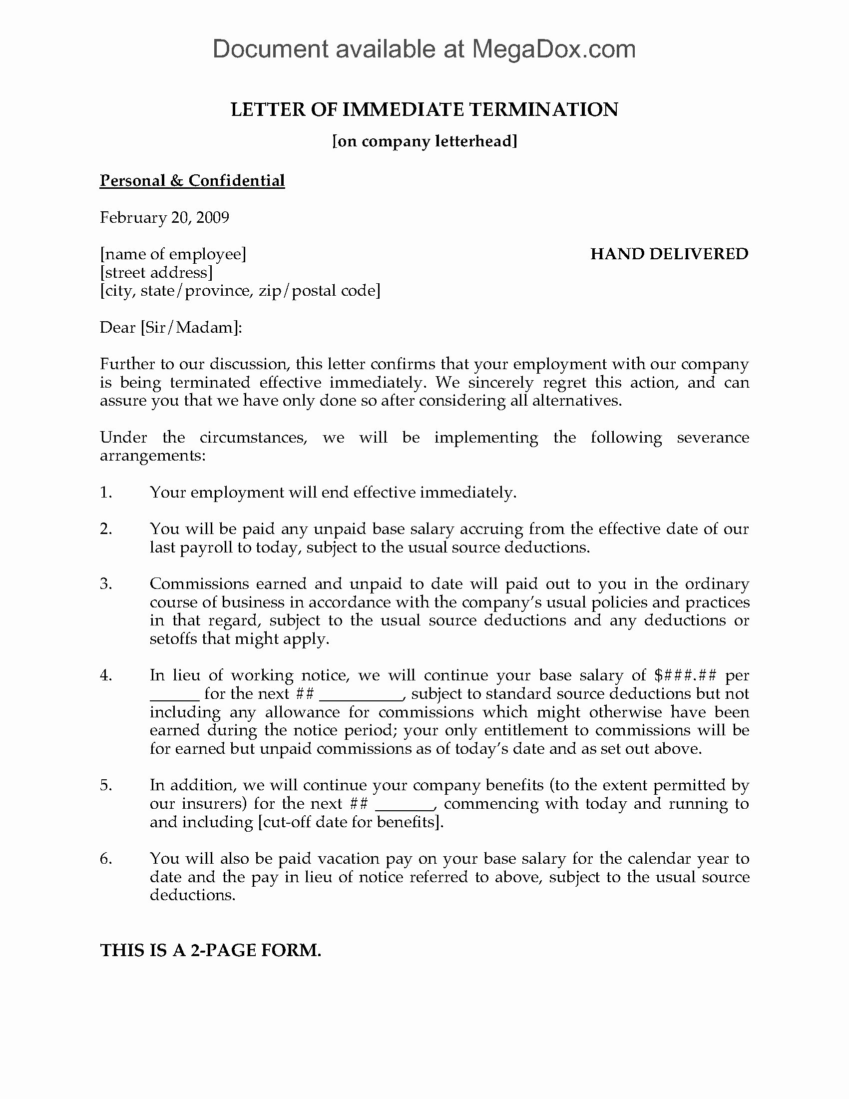 Letter Of Termination to Employee Unique Letter Of Immediate Termination Of Employment