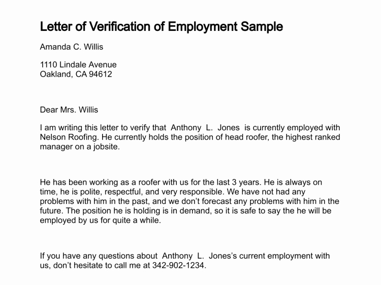 Letter Of Work Verification Best Of Employment Verification Letter Sample