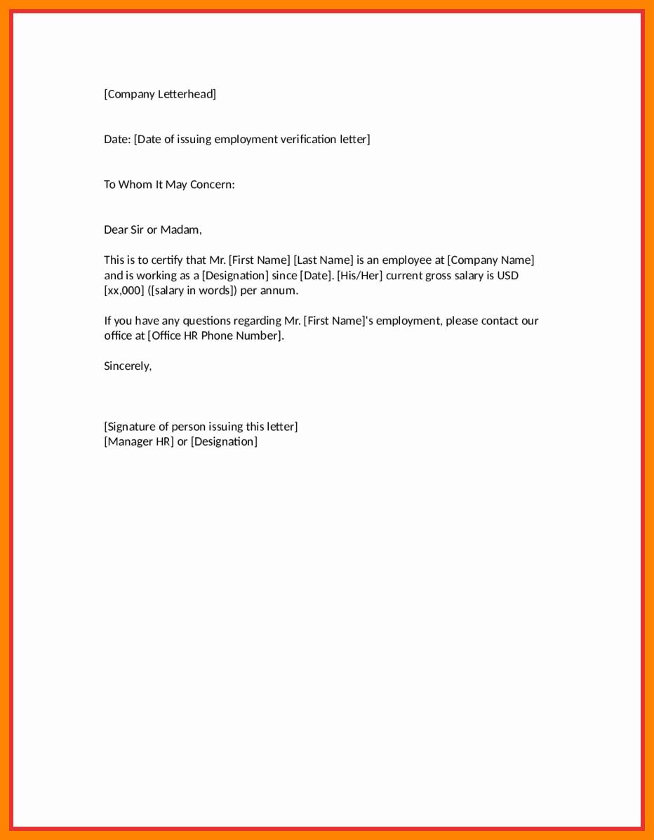Letter Of Work Verification Elegant Employment Verification Letter