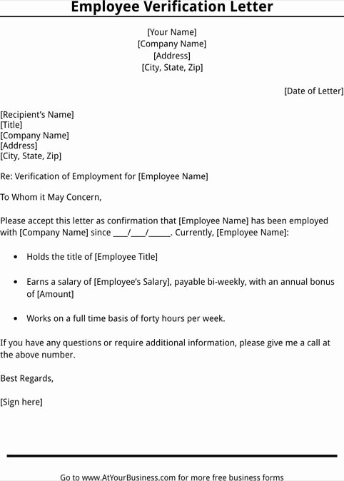 Letter Of Work Verification Inspirational Employment Verification Letter Template