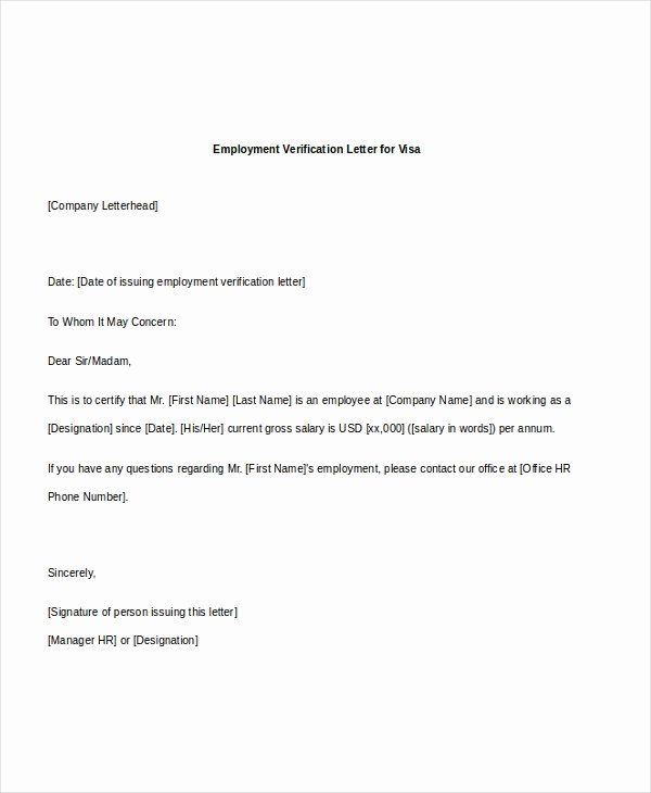 Letter Of Work Verification Inspirational Free 7 Sample Employee Verification Letters In Pdf