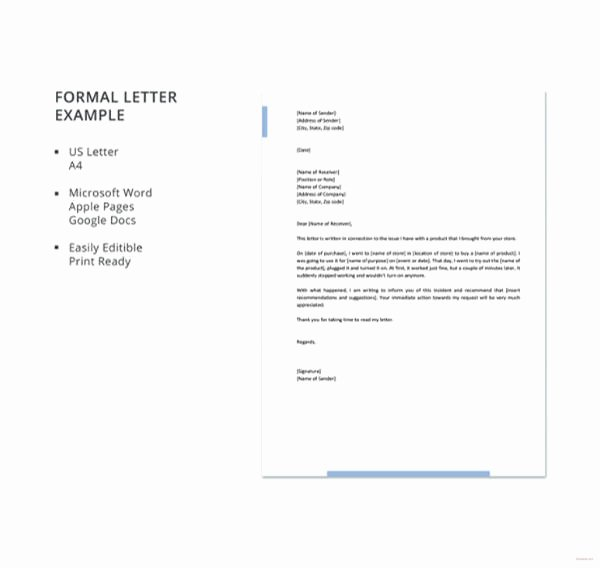 Letter Template Google Docs Inspirational 15 formal Letter formats Pdf Doc Apple Pages Google