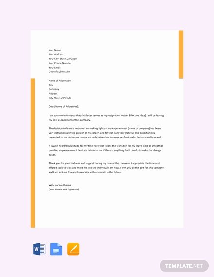 Letter Template Google Docs Unique 142 Free Resignation Letter Templates In Google Docs